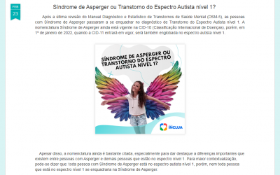Síndrome de Asperger ou TEA nível 1, no Blog Inclua